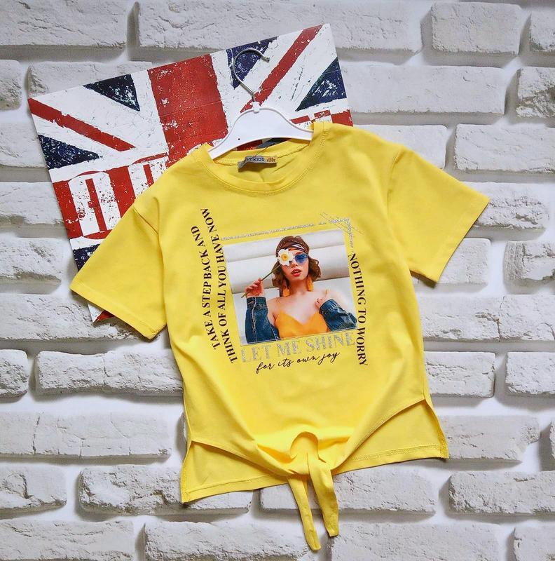 Яркие футболки топы на завязках для девочек 10-12 лет