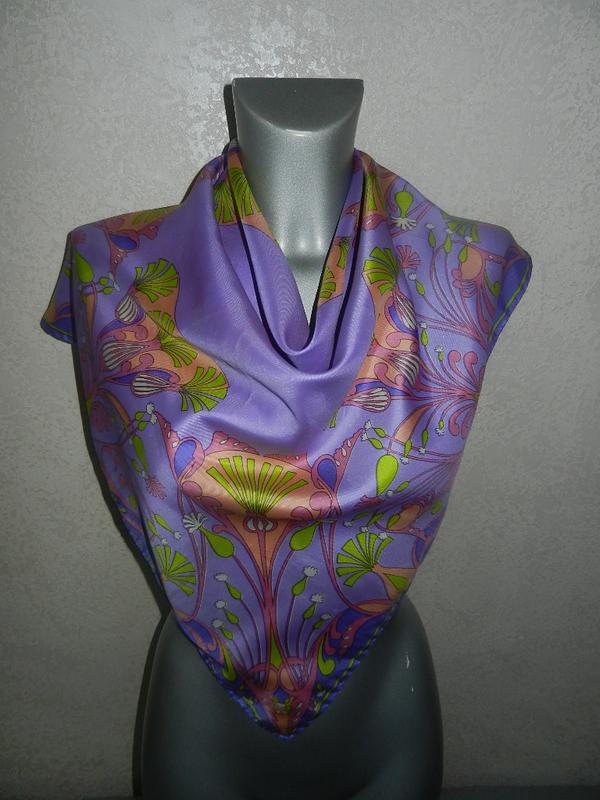 Сиреневый подписной платок натуральный шелк,pure silk,мытый шелк