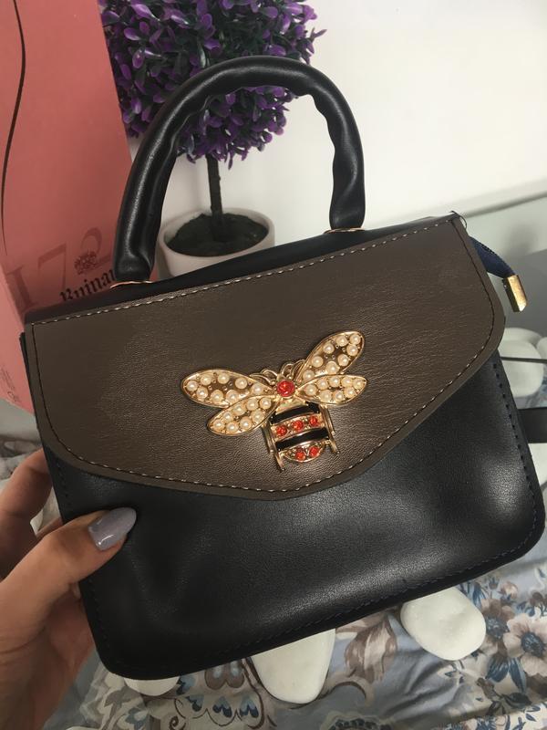 Сумка сумочка клатч кросс боди на длинном ремешке золото черна...