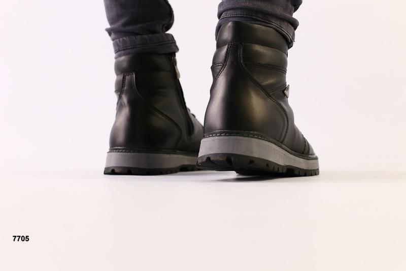 Lux обувь! кожаные зимние мужские ботинки сапоги на меху - Фото 4