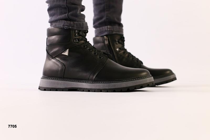 Lux обувь! кожаные зимние мужские ботинки сапоги на меху - Фото 5