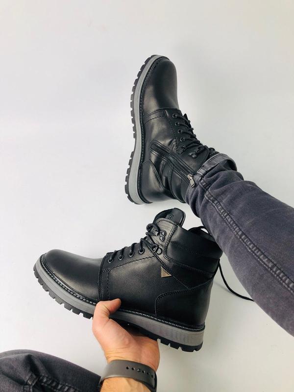 Lux обувь! кожаные зимние мужские ботинки сапоги на меху