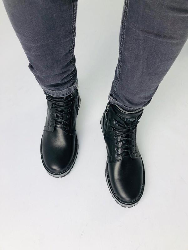 Lux обувь! кожаные зимние мужские ботинки сапоги на меху - Фото 2