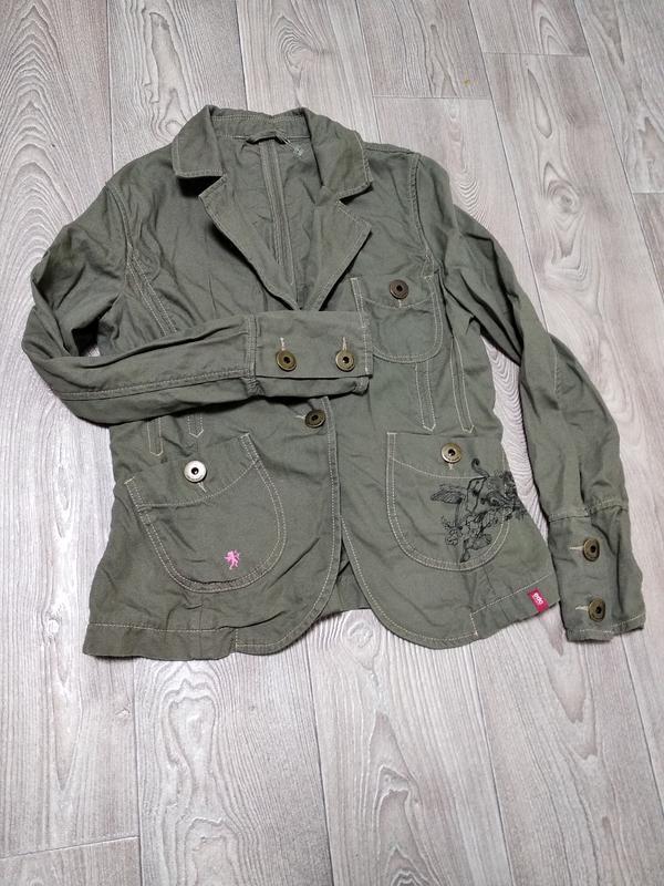 Супер стоковый пиджак жакет цвета хаки защитного