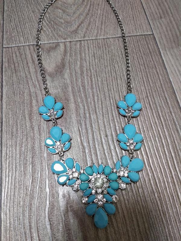 Колье ожерелье подвеска бирюзовое голубое камни массивное