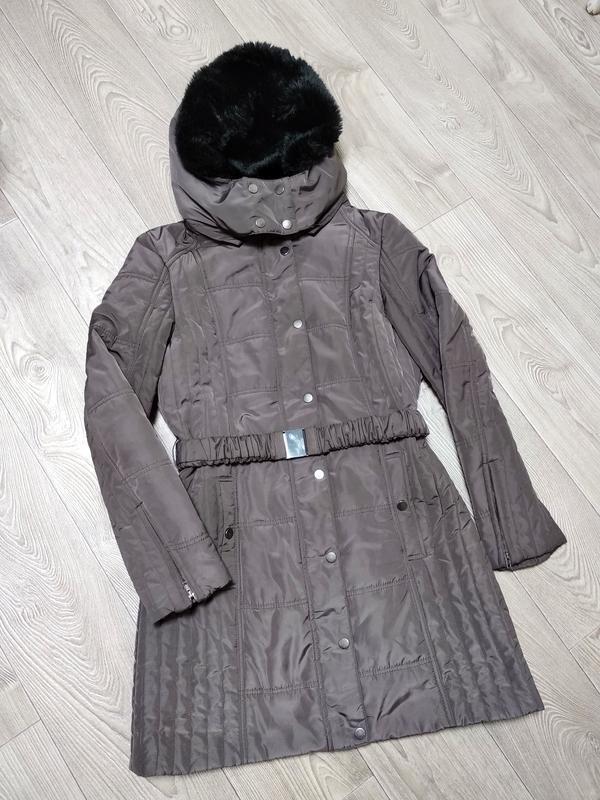 Осенняя длинная  куртка курточка пуховик пальто демисезонный д...