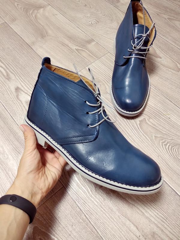 Кожаные туфли мужские высокие мокасины модные