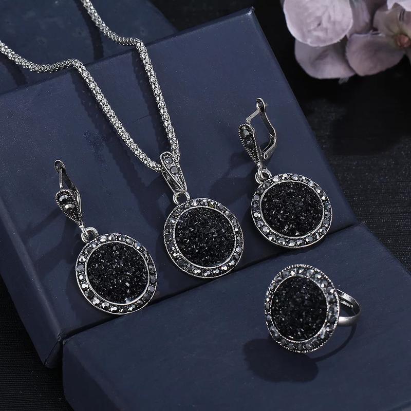 Набор бижутерия нарядный серьги колье кольцо под серебро