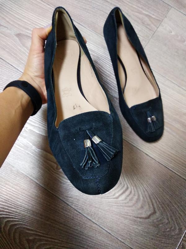 Туфли на небольшой танкетке туфельки замшевые кожаные на широк...