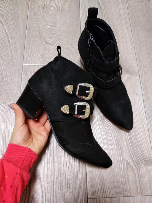 Сапожки осенние демисезонные туфли ботинки с острым носком под...