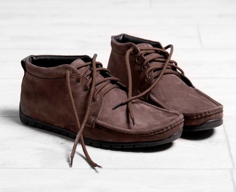 Кожаные мужские зимние коричневые туфли мокасины на меху натур...
