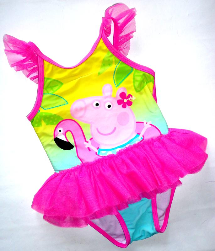 Сдельный купальник 1,5-2г пеппа фламинго