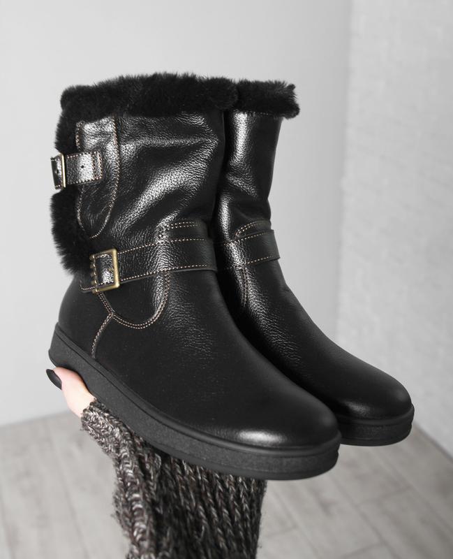 Кожаные зимние черные детские сапоги ботинки для девочек на ме...