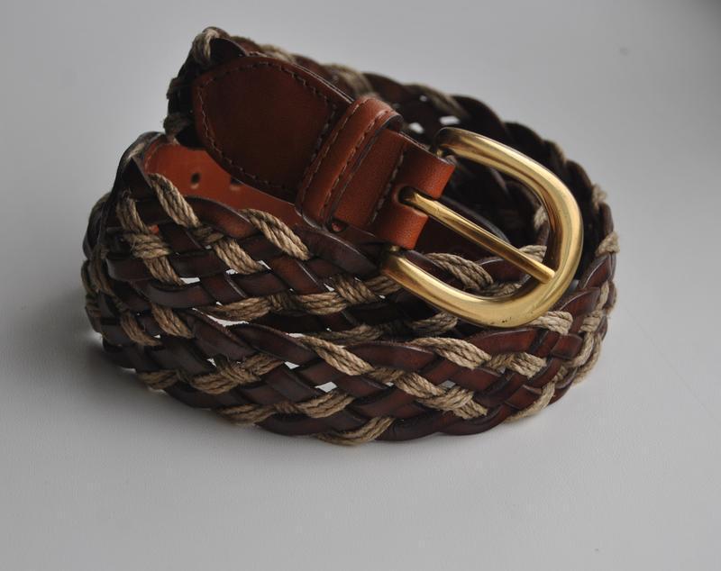 Кожаный плетеный ремень albany англия/ шкіряний ремінь