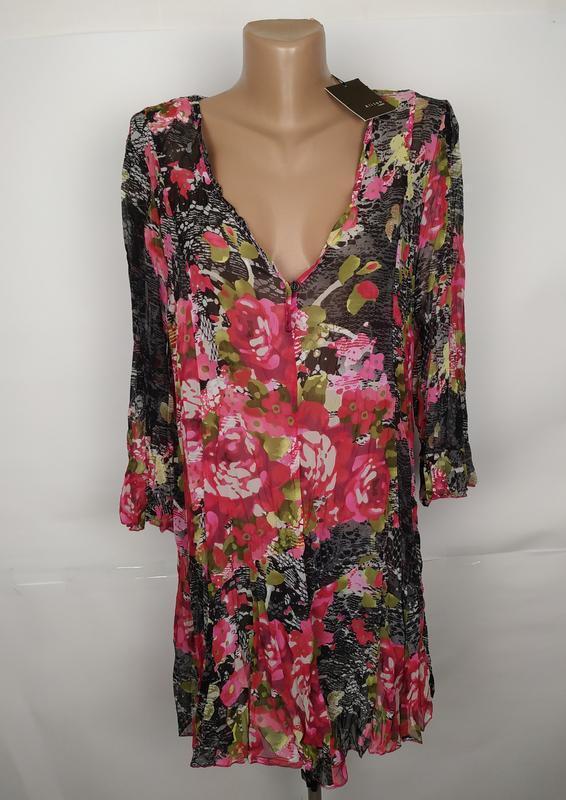 Блуза туника новая легкая цветочная французская uk 14/42/l