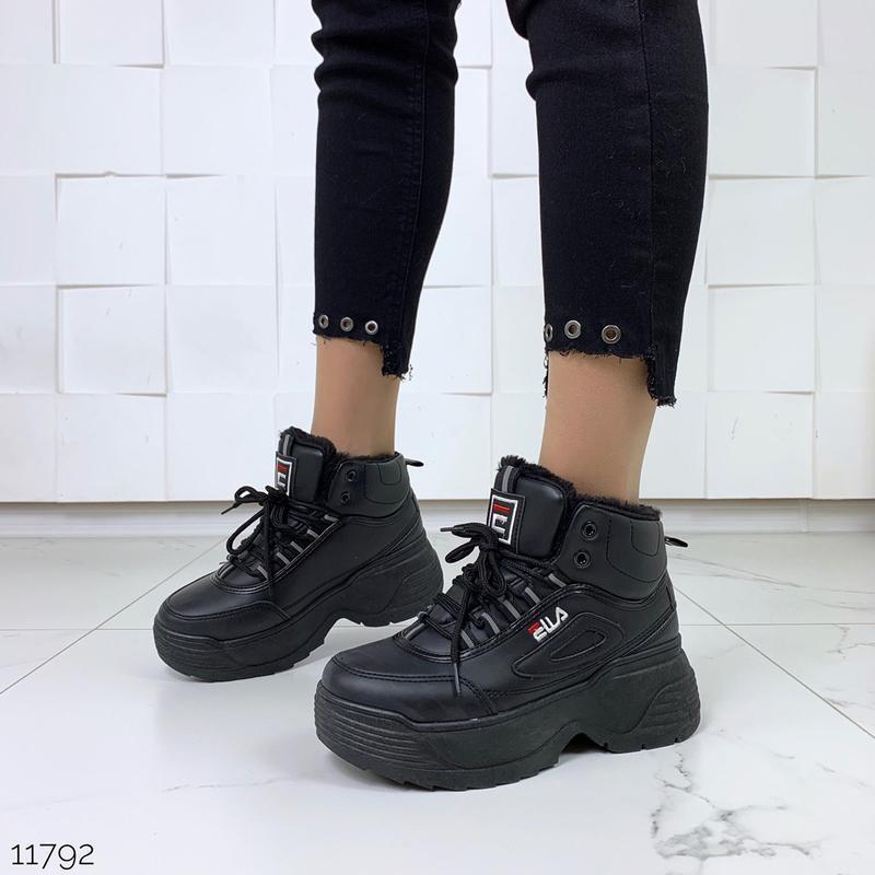 """Черные зимние кроссовки """"fila"""""""