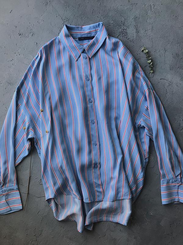 Оверсайз рубашка в полоску marks & spencer блуза