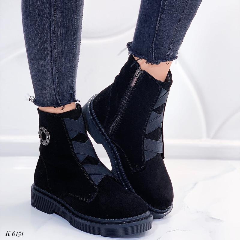 Зимние замшевые ботинки на низком каблуке,высокие зимние ботин...