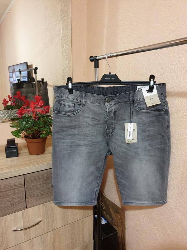 Серые джинсовые шорты мужские с бирками denim co
