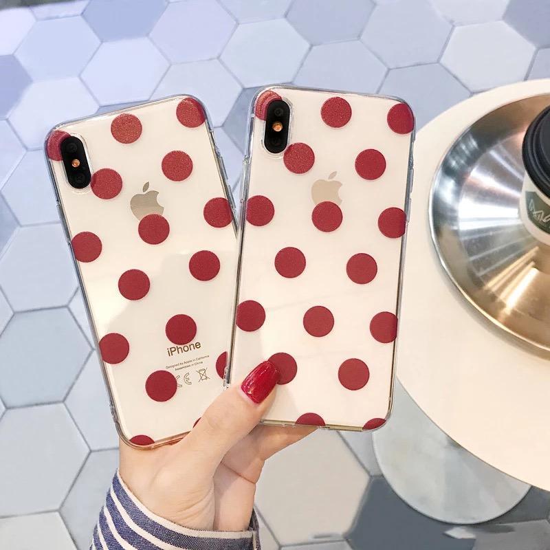 Новый силиконовый чехол с бордовым горошком на айфон iphone xs