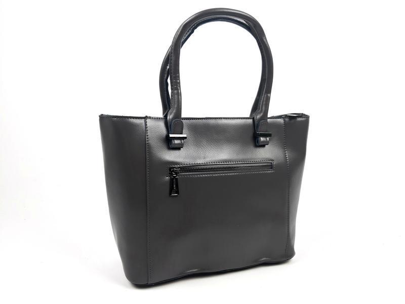 Женская вместительная кожаная сумка серая - Фото 3
