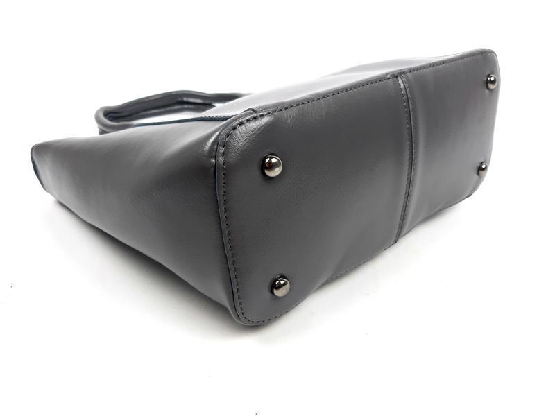 Женская вместительная кожаная сумка серая - Фото 5