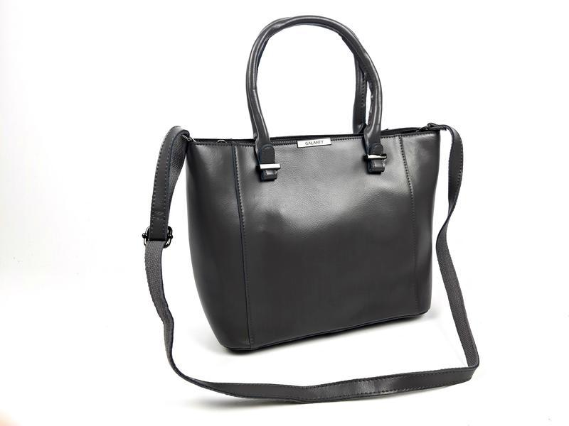 Женская вместительная кожаная сумка серая - Фото 6