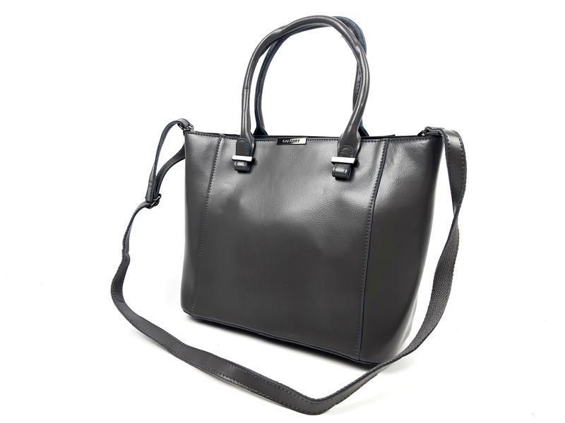 Женская вместительная кожаная сумка серая - Фото 7