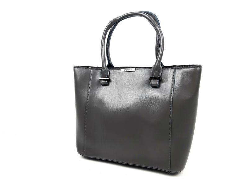 Женская вместительная кожаная сумка серая - Фото 8