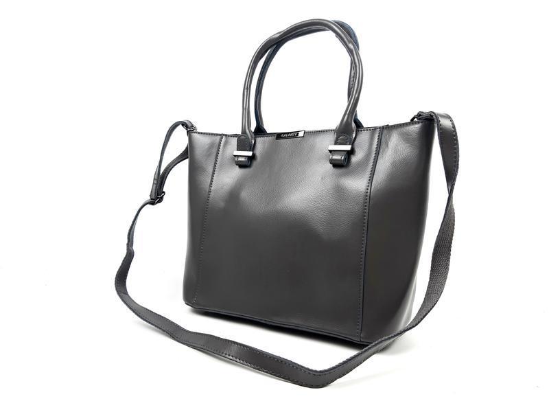 Женская вместительная кожаная сумка серая - Фото 9