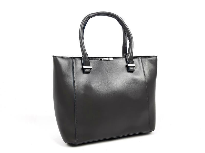 Женская вместительная кожаная сумка серая - Фото 10