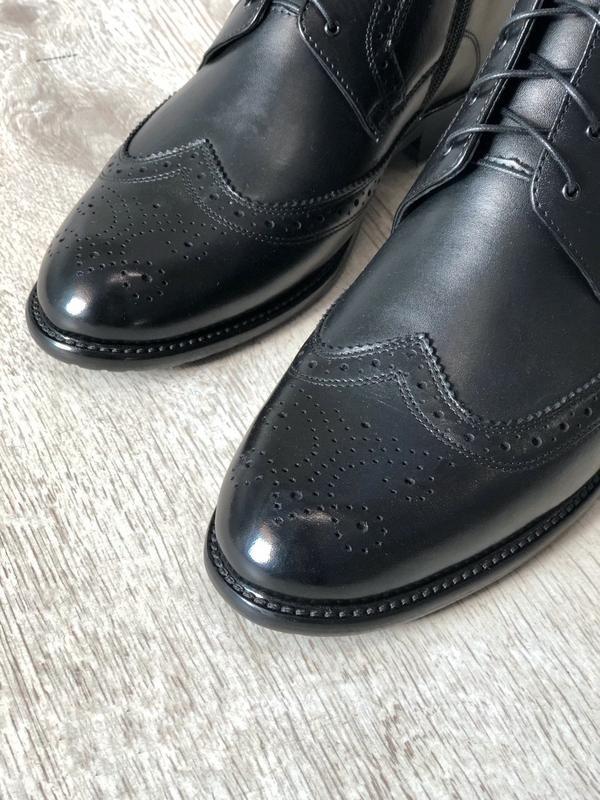 Мужские зимние кожаные ботинки полусапоги - Фото 2