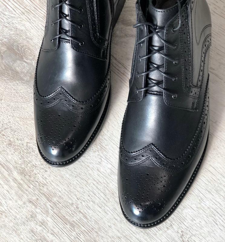 Мужские зимние кожаные ботинки полусапоги - Фото 3