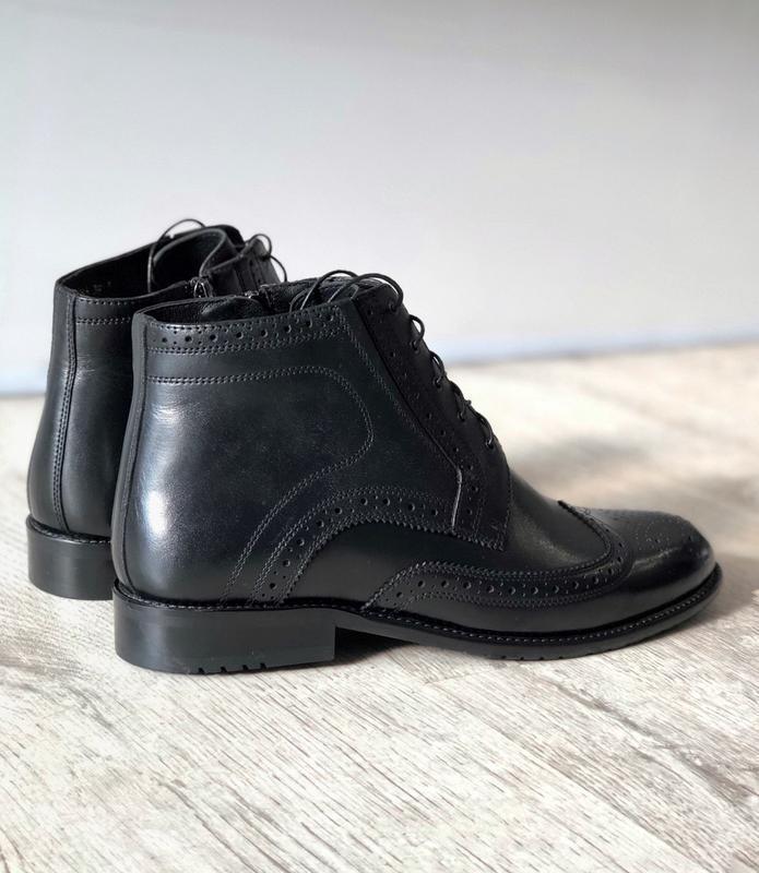 Мужские зимние кожаные ботинки полусапоги - Фото 4