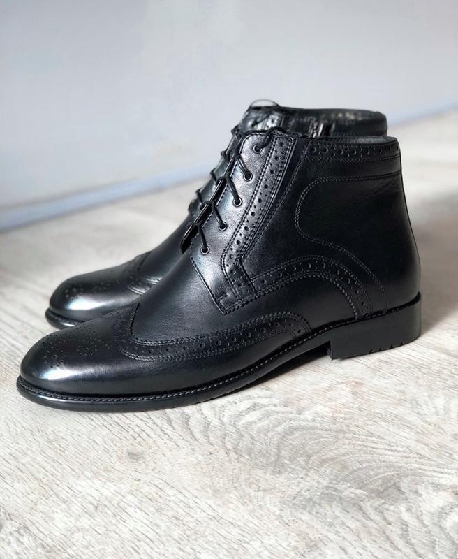 Мужские зимние кожаные ботинки полусапоги - Фото 5