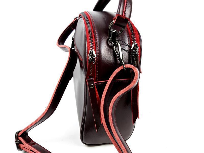 Женская кожаная сумка бочонок бордового цвета - Фото 3