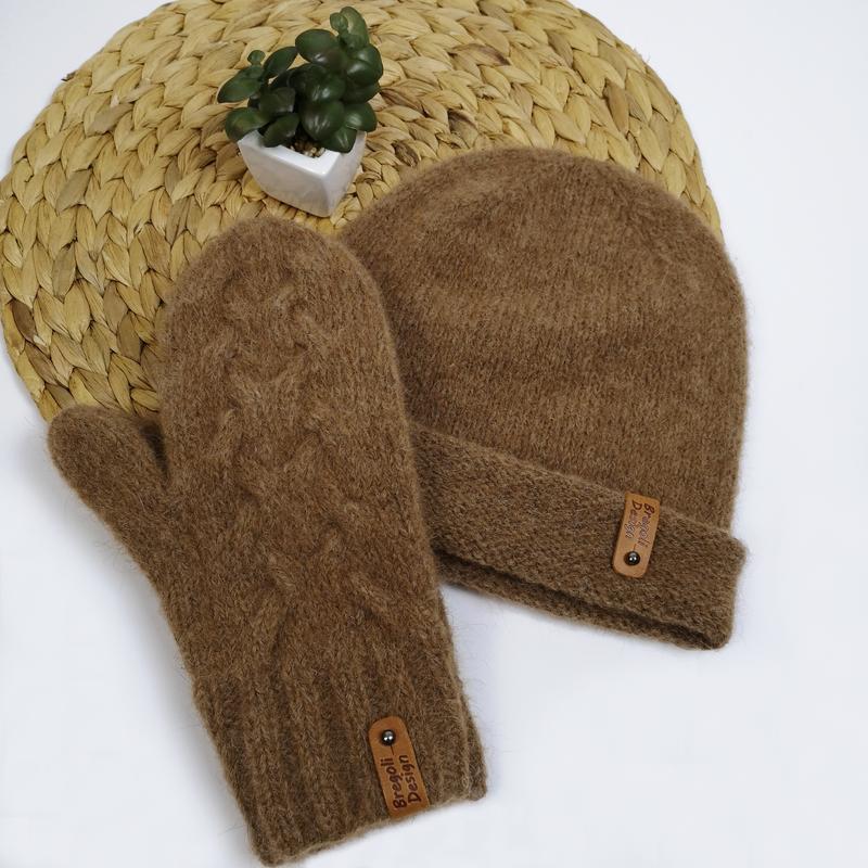 Шапка и варежки вязаный набор зима альпака от bregoli design р...
