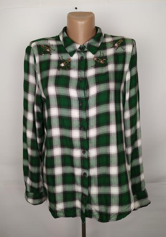 Блуза модная в клетку натуральная h&m uk 14/42/l