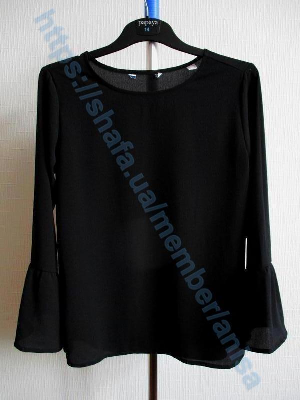 Элегантная черная блузка с рукавами воланами  tcm tchibo