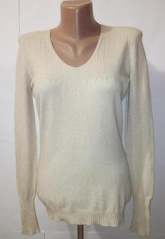 Свитер джемпер пуловер бежевый теплый бесшовный шерстяной uk 1...