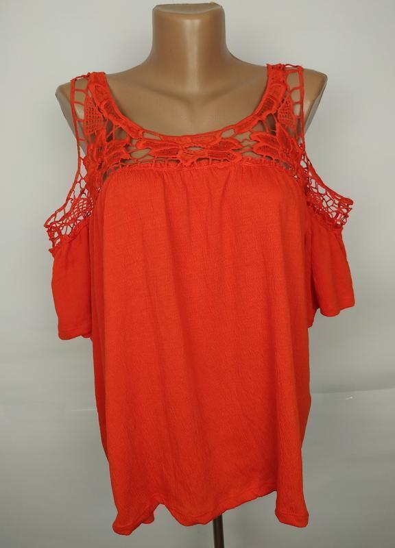 Блуза стильная кружевная оранжевая трикотажная большой размер ...