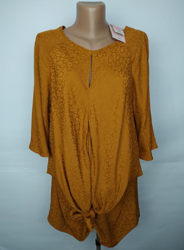 Блуза натуральный новая на завязке спереди большой размер uk 1...