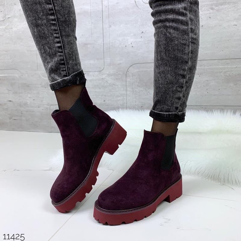 Стильные замшевые ботинки челси, сливовые ботинки на низком ходу
