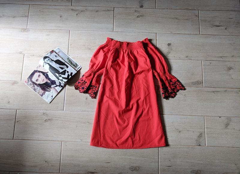 Стильное платье трапецией с открытыми плечами m l