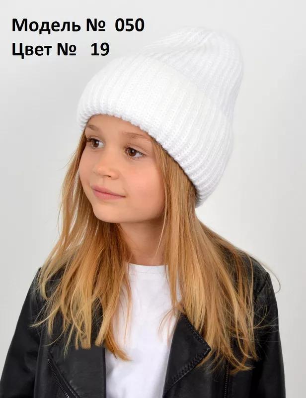 Зимние вязаные шапки с флисовой подкладкой для девочек - Фото 2