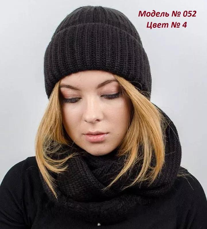 Зимний комплект, вязаная шапка и вязаный снуд, хомут - Фото 3