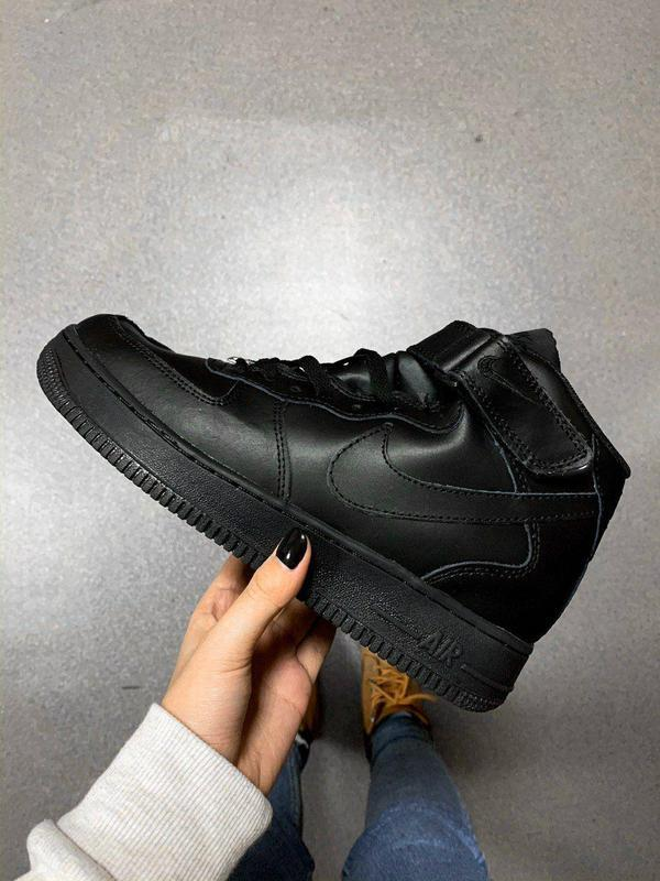 Nike air force 1 high black winter fur! шикарные женские зимни...