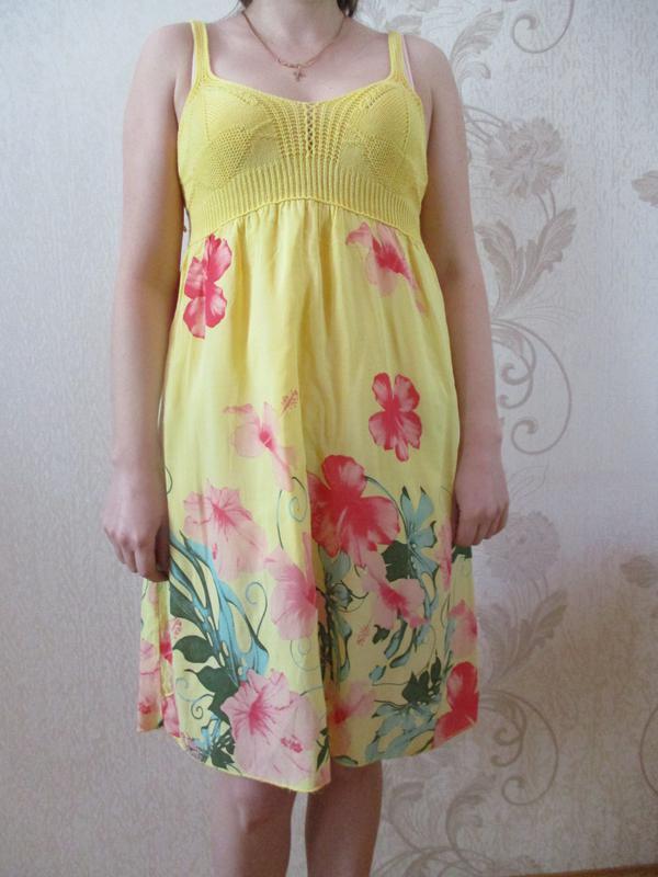 Платье в принт летнее натуральное/вискоза/хлопок/тропический п...