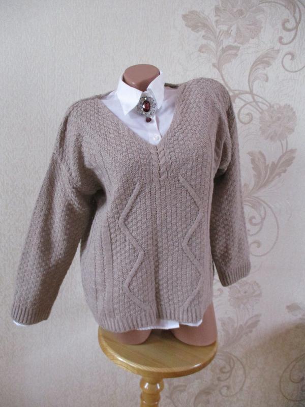 Джемпер/свитер/мохер/полушерсть/серо-коричневый/тауп/s-m