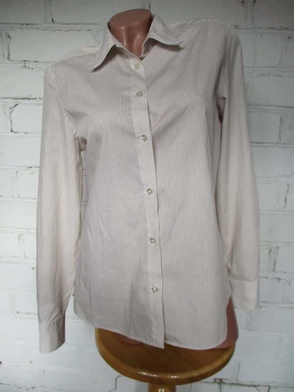 Рубашка базовая  хлопковая в бело-бежевую полоску/хлопок/s-m